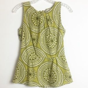 BANANA REPUBLIC PEPLUM SLEEVELESS TOP GREEN SIZE 0